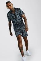 boohoo Mens Black Short Sleeve Revere Collar Bandana Short Jumpsuit, Black