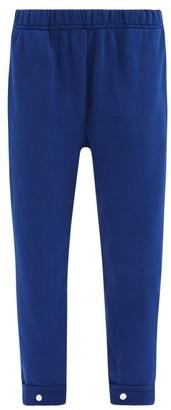 LES TIEN Snap-front Brushed-back Cotton-jersey Track Pants - Blue