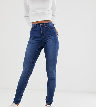 Noisy May Tall high waisted skinny jeans in mid blue wash