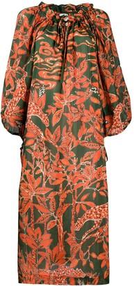 L'Autre Chose Floral-Print Flared Dress
