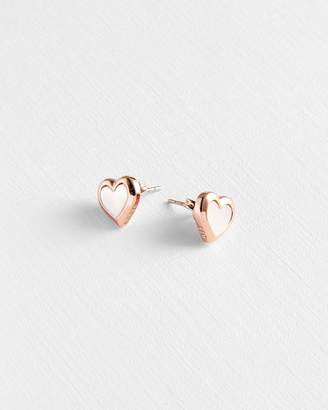 Ted Baker Mother Of Pearl Heart Stud Earrings