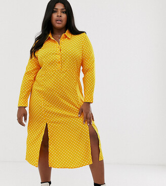 Wednesday's Girl Curve Wednesday's Girl curve midaxi shirt dress with front splits in polka-Yellow