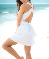 White Tie-Back V-Neck Dress