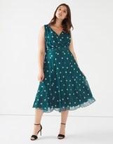 Scarlett & Jo Plus Midi Spot Marilyn Chiffon Dress