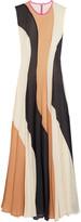 Roksanda Paneled silk-seersucker and silk crepe de chine dress