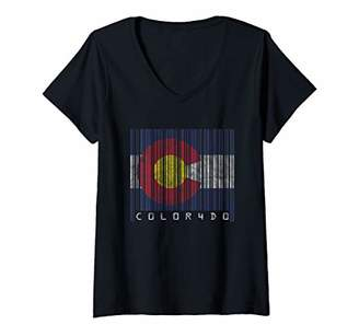 Womens Nerd Geek Style Barcode State Flag Colorado Gift V-Neck T-Shirt