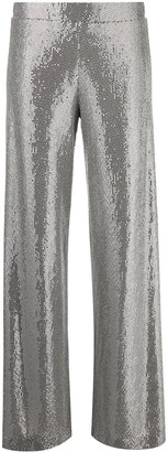 D-Exterior Metallic-Embellished Trousers