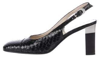 Chanel Snakeskin Square-Toe Slingback Pumps