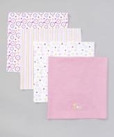 SpaSilk Pink 'Baby' Receiving Blanket Set - Infant