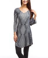 Gray & Black Geo V-Neck Dress