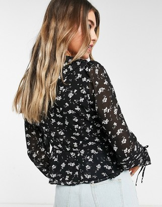 Pimkie ruffle detail blouse in dark floral print