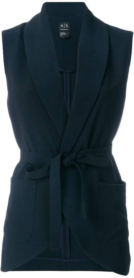 Armani Exchange belted sleeveless jacket