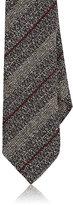 Barneys New York Men's Striped Silk-Wool Necktie-GREY