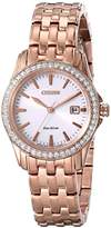 Citizen Eco-Drive Women's EW1903-52A Silhouette Crystal Analog Display Gold Watch