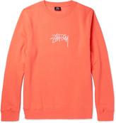 Stüssy - Embroidered Fleece-back Cotton-blend Jersey Sweatshirt