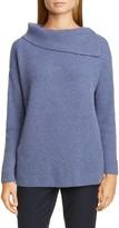 Lafayette 148 New York Asymmetrical Neck Metallic Cashmere Blend Sweater