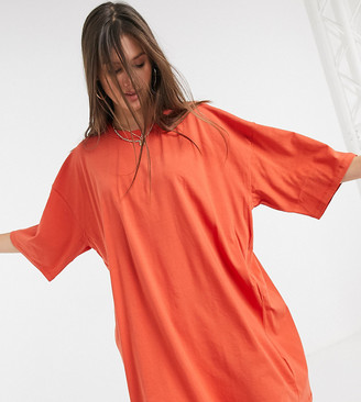 Asos Tall ASOS DESIGN Tall oversized t-shirt dress in burnt orange