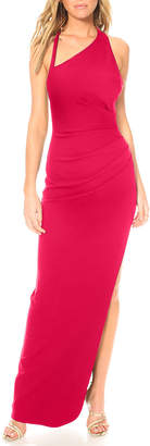 Katie May Teaser Asymmetric Low-Back Crepe Halter Gown w/ Side Slit