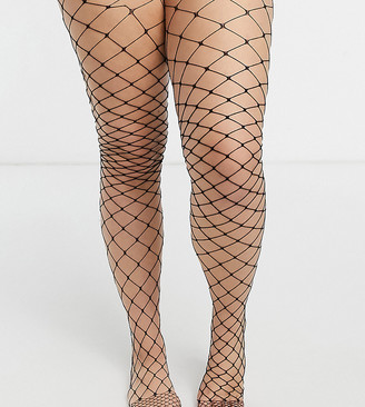 ASOS DESIGN Curve oversized fishnet tights in black