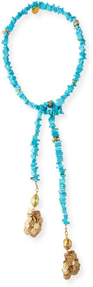 Devon Leigh Turquoise and Pearl Lariat Necklace