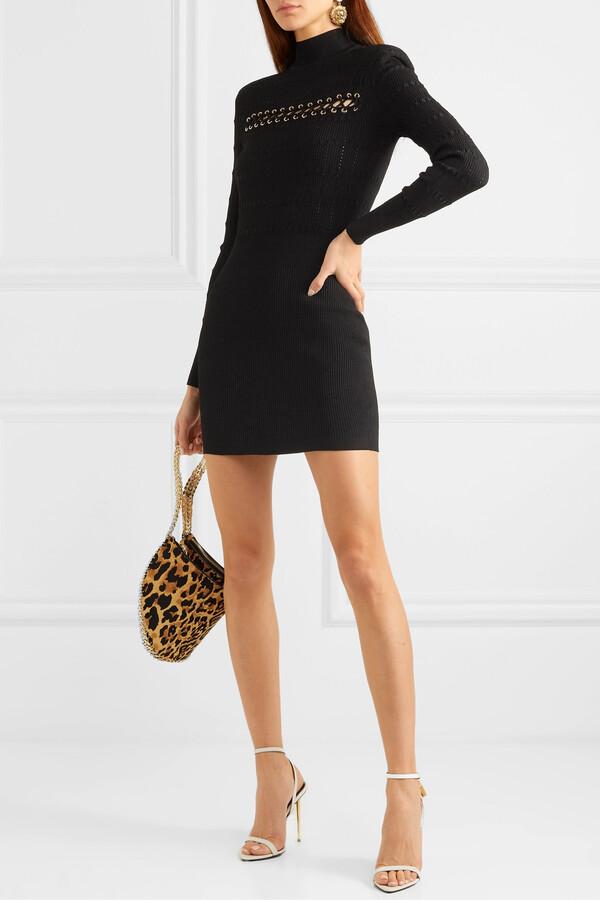 Thumbnail for your product : Balmain Lace-up Ribbed Pointelle-knit Mini Dress - Black