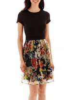 J Taylor Danny & Nicole Short-Sleeve Scuba Knit and Organza Print Fit-and-Flare Dress