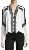 Nanette Lepore Long-Sleeve Silk Lace-Trim Blouse, White/Black