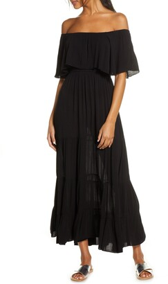 Elan International Off the Shoulder Ruffle Cover-Up Maxi Dress