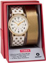 Timex Weekender 38 Box Set Womens White 2-pc. Watch Boxed Set-Twg015200jt