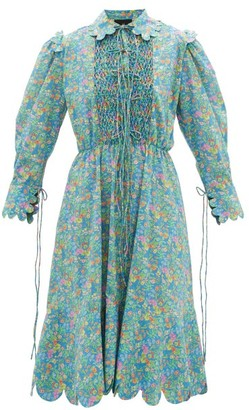 Horror Vacui Electra Smocked Floral-print Cotton Dress - Womens - Blue Multi