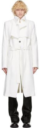 Ann Demeulemeester White Wool Long Coat