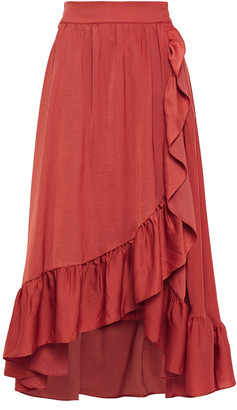 Maje Wrap-effect Ruffle-trimmed Satin Midi Skirt