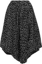 Rosie Assoulin Asymmetric Tweed And Silk-gazar Midi Skirt - Black