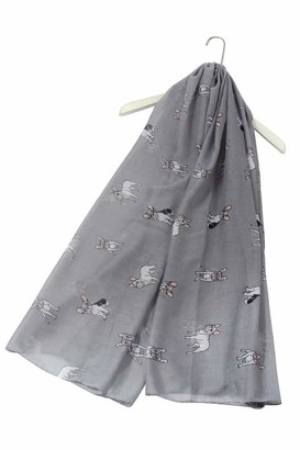 FUREVER GIFTS New French Bulldog Puppy Dog Print Womens Scarf Shawl Lightweight Grey Adorable Gift