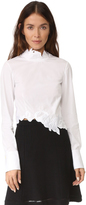 3.1 Phillip Lim Long Sleeve Crop Top with Embroidery