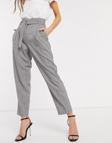 Y.A.S tailored pants with belted waist in gray