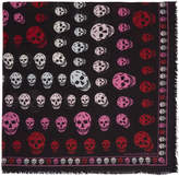 Alexander McQueen Black and Pink Skull Scarf