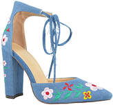 Denim Floral Embroidered Lace-Up Holland Pump
