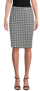 Kasper Houndstooth-Print Pencil Skirt