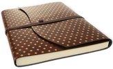 LeatherKind Fleur De Lys Extra Large Gold Handmade Recycled Leather Wrap Journal, Plain Pages (30cm x 24cm x 2cm)