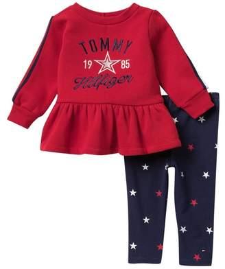 Tommy Hilfiger Ruffle Hem Sweater & Star Leggings (Baby Girls)