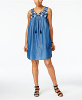Style&Co. Style & Co Embroidered Denim Dress, Created for Macy's
