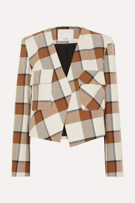 Tibi Dylan Cropped Plaid Woven Jacket - Ivory