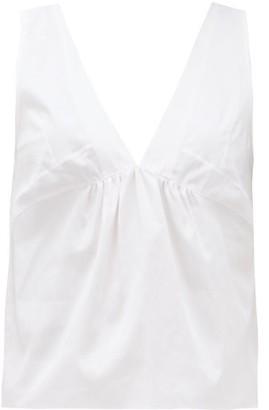 Rossell England - Panelled Cotton-poplin Top - Womens - Light Pink