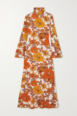 Dodo Bar Or Lena Floral-print Stretch-jersey Turtleneck Midi Dress - Brown