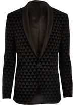 River Island MensBlack geo print skinny fit blazer