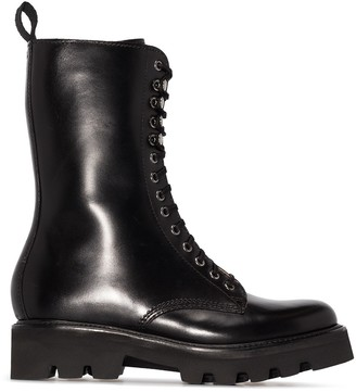 Grenson Calf-Length Leather Combat Boots