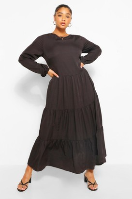 boohoo Plus Woven Extreme Tiered Midaxi Dress