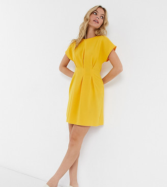 ASOS DESIGN Petite nipped in waist mini dress in ochre