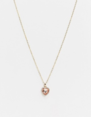 ASOS DESIGN necklace with pink heart jewel pendant in gold tone